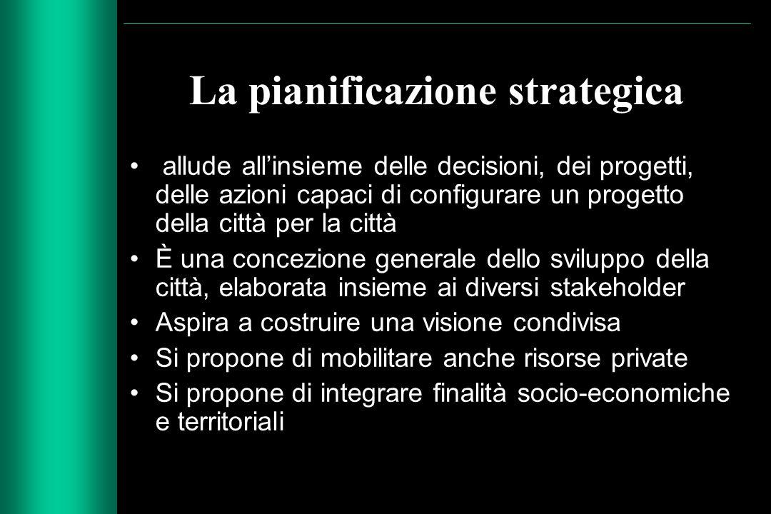 La pianificazione strategica allude all'insieme delle decisioni, dei progetti, delle azioni capaci di configurare un progetto della città per la città