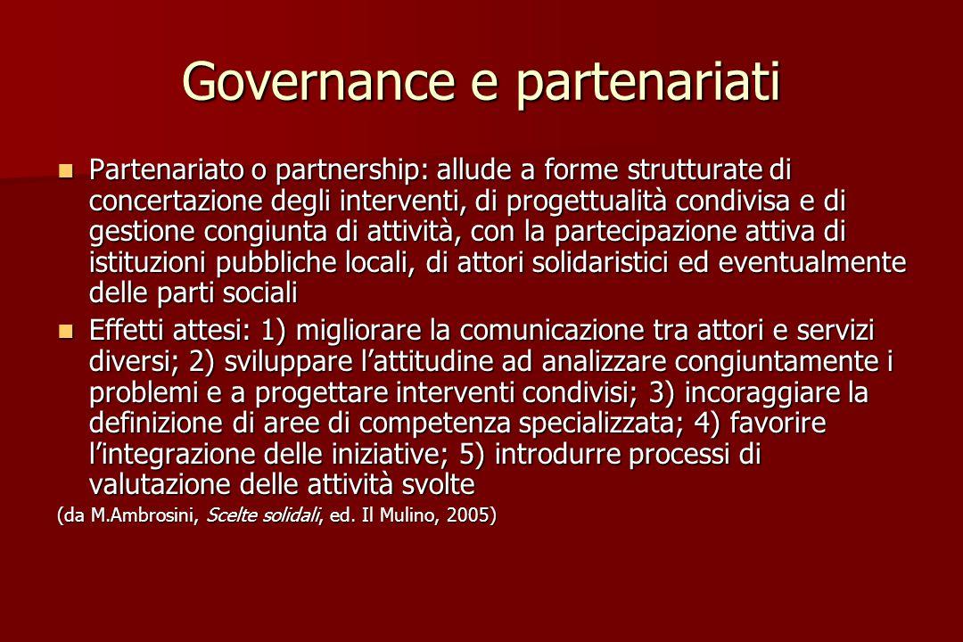 Governance e partenariati Partenariato o partnership: allude a forme strutturate di concertazione degli interventi, di progettualità condivisa e di ge