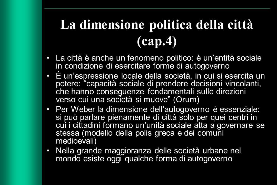 La dimensione politica della città (cap.4) La città è anche un fenomeno politico: è un'entità sociale in condizione di esercitare forme di autogoverno