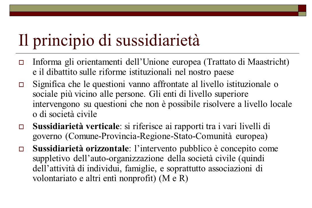 Il principio di sussidiarietà  Informa gli orientamenti dell'Unione europea (Trattato di Maastricht) e il dibattito sulle riforme istituzionali nel n