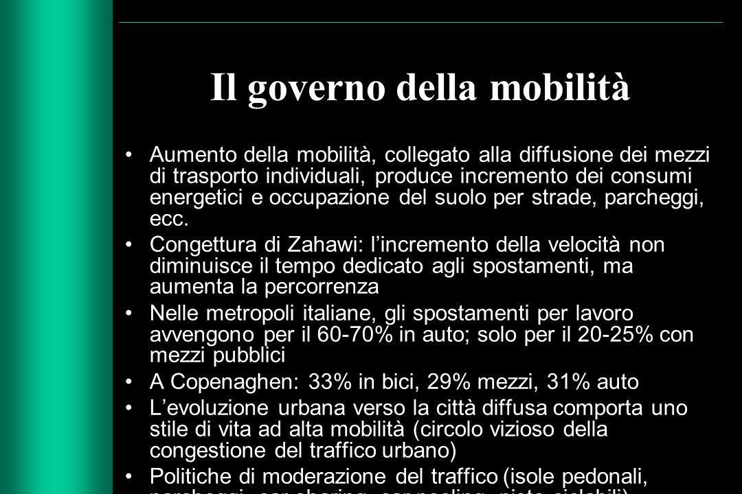 Il governo della mobilità Aumento della mobilità, collegato alla diffusione dei mezzi di trasporto individuali, produce incremento dei consumi energet