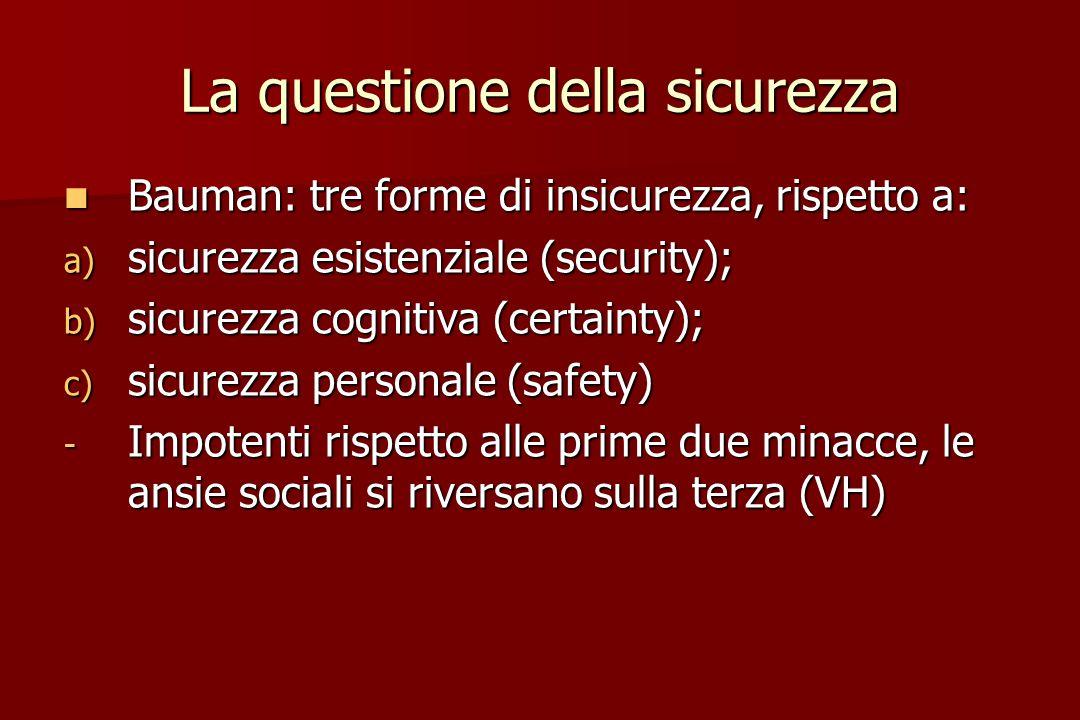 La questione della sicurezza Bauman: tre forme di insicurezza, rispetto a: Bauman: tre forme di insicurezza, rispetto a: a) sicurezza esistenziale (se