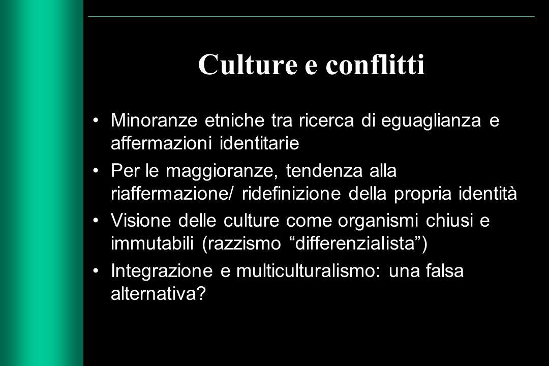 Culture e conflitti Minoranze etniche tra ricerca di eguaglianza e affermazioni identitarie Per le maggioranze, tendenza alla riaffermazione/ ridefini