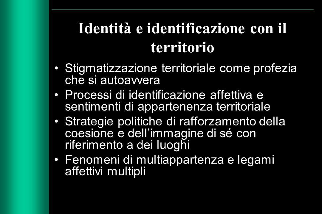 Identità e identificazione con il territorio Stigmatizzazione territoriale come profezia che si autoavvera Processi di identificazione affettiva e sen