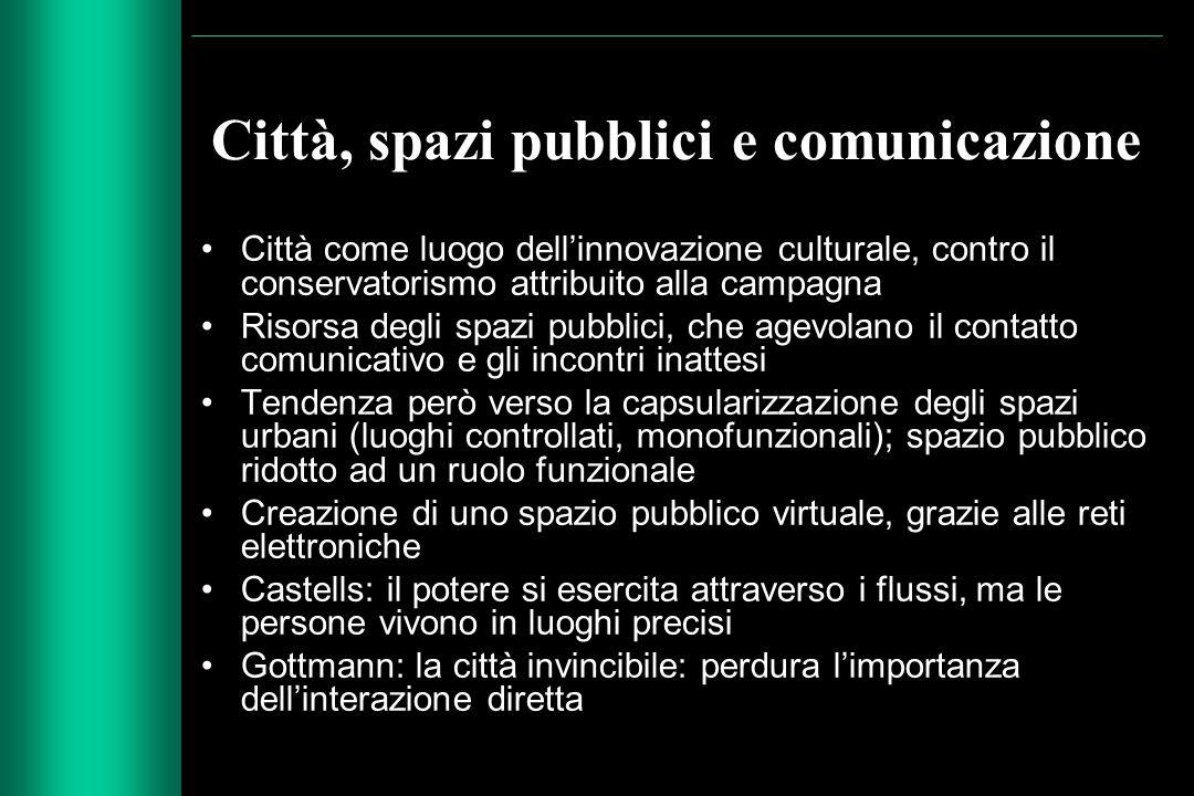 Città, spazi pubblici e comunicazione Città come luogo dell'innovazione culturale, contro il conservatorismo attribuito alla campagna Risorsa degli sp
