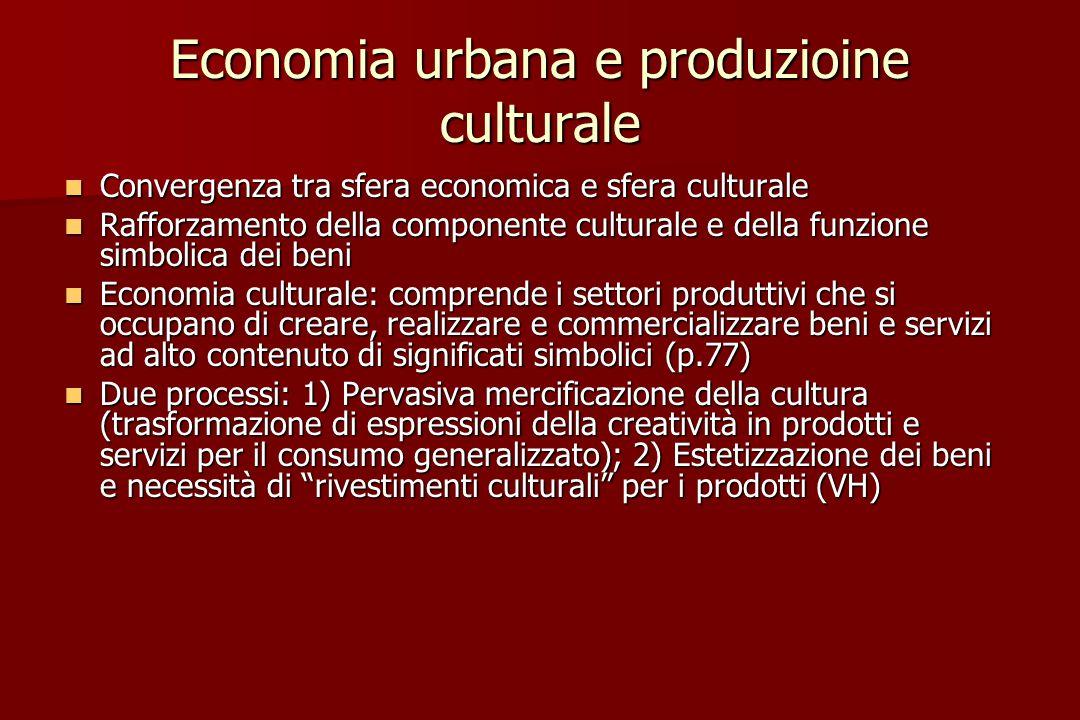 Economia urbana e produzioine culturale Convergenza tra sfera economica e sfera culturale Convergenza tra sfera economica e sfera culturale Rafforzame