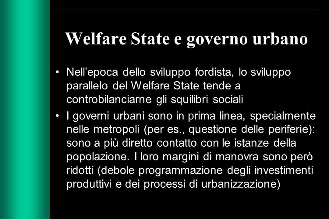 Welfare State e governo urbano Nell'epoca dello sviluppo fordista, lo sviluppo parallelo del Welfare State tende a controbilanciarne gli squilibri soc