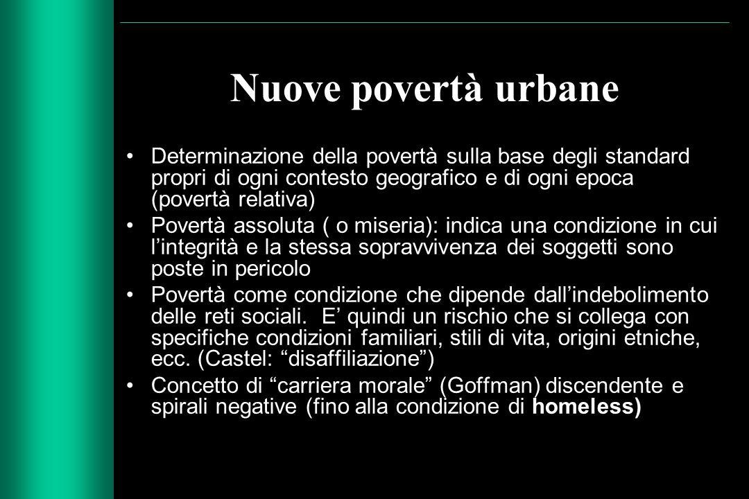 Nuove povertà urbane Determinazione della povertà sulla base degli standard propri di ogni contesto geografico e di ogni epoca (povertà relativa) Pove