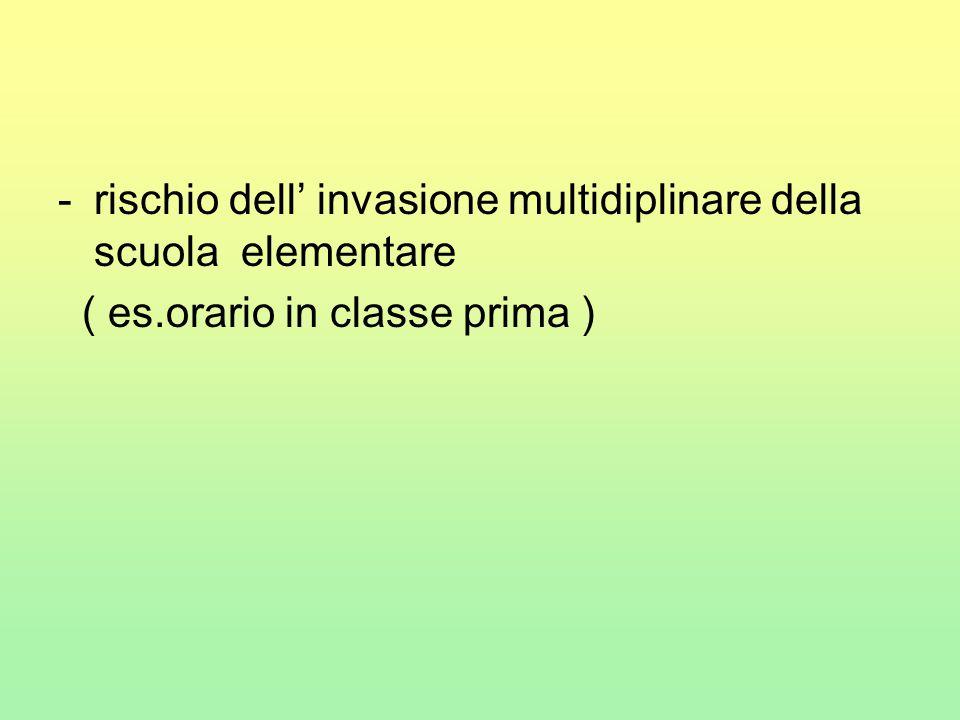 -rischio dell' invasione multidiplinare della scuola elementare ( es.orario in classe prima )