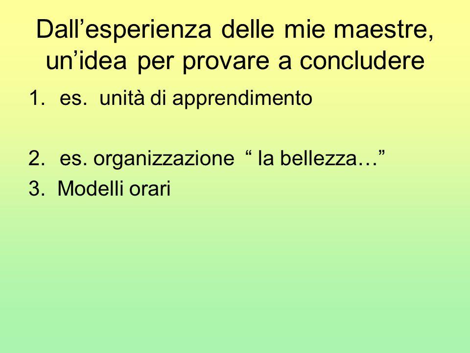 """Dall'esperienza delle mie maestre, un'idea per provare a concludere 1.es. unità di apprendimento 2.es. organizzazione """" la bellezza…"""" 3. Modelli orari"""