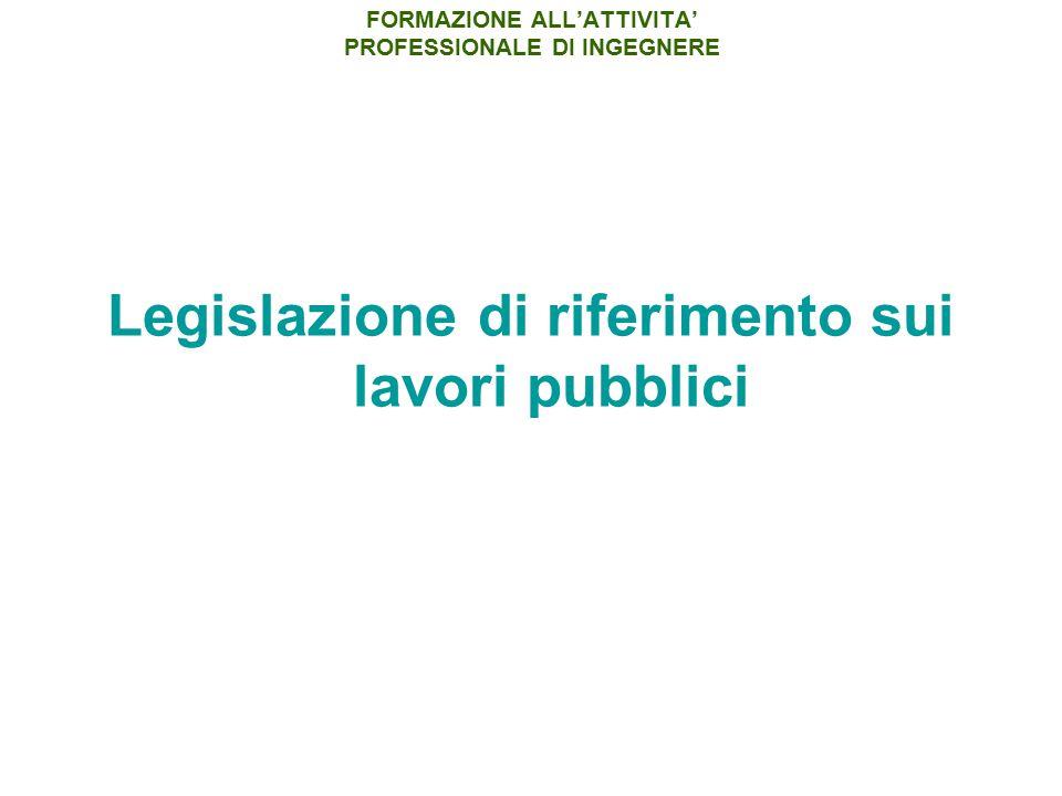 Legislazione di riferimento sui lavori pubblici FORMAZIONE ALL'ATTIVITA' PROFESSIONALE DI INGEGNERE