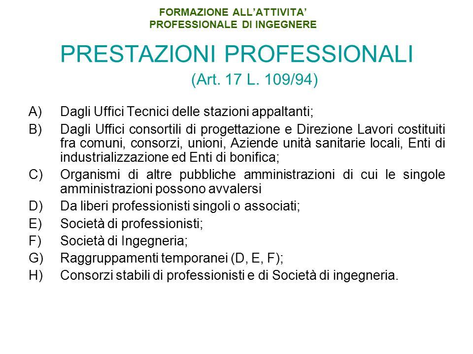 FORMAZIONE ALL'ATTIVITA' PROFESSIONALE DI INGEGNERE PRESTAZIONI PROFESSIONALI (Art. 17 L. 109/94) A)Dagli Uffici Tecnici delle stazioni appaltanti; B)