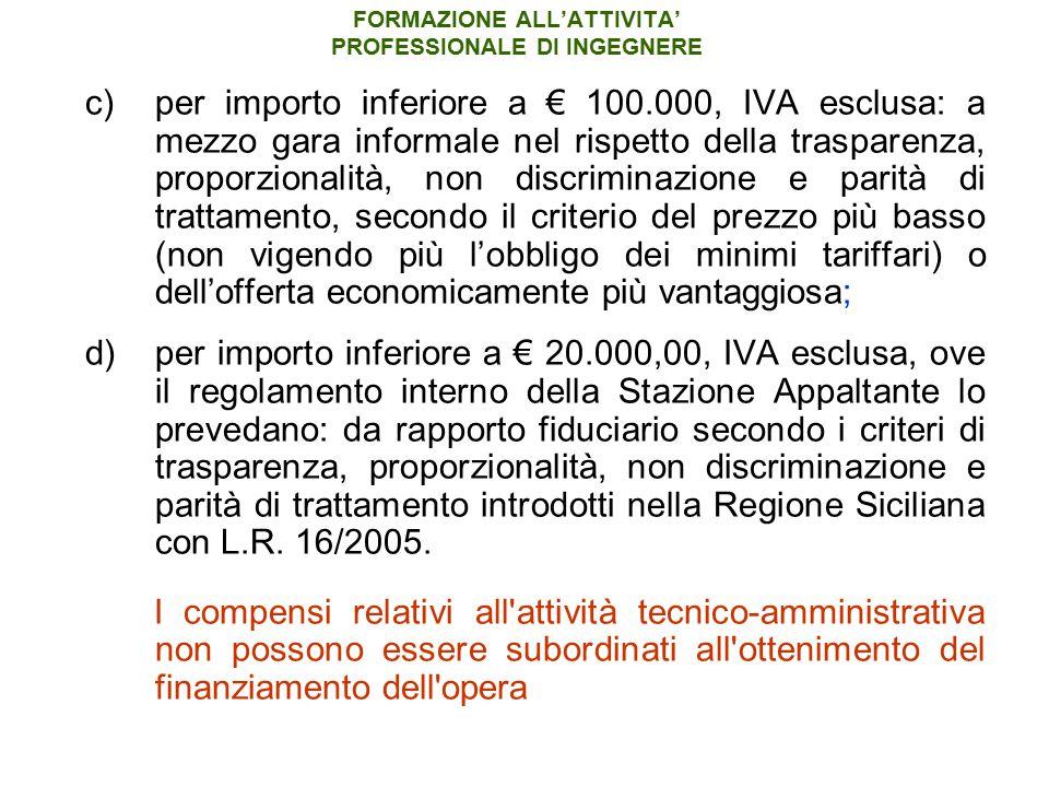 FORMAZIONE ALL'ATTIVITA' PROFESSIONALE DI INGEGNERE c)per importo inferiore a € 100.000, IVA esclusa: a mezzo gara informale nel rispetto della traspa