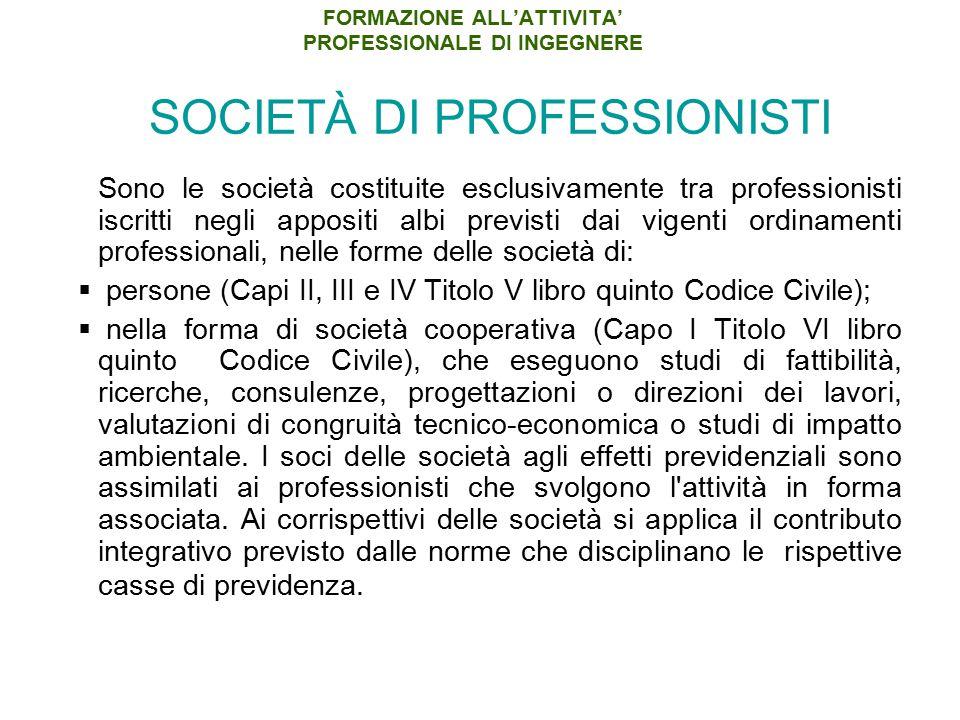 FORMAZIONE ALL'ATTIVITA' PROFESSIONALE DI INGEGNERE SOCIETÀ DI PROFESSIONISTI Sono le società costituite esclusivamente tra professionisti iscritti ne