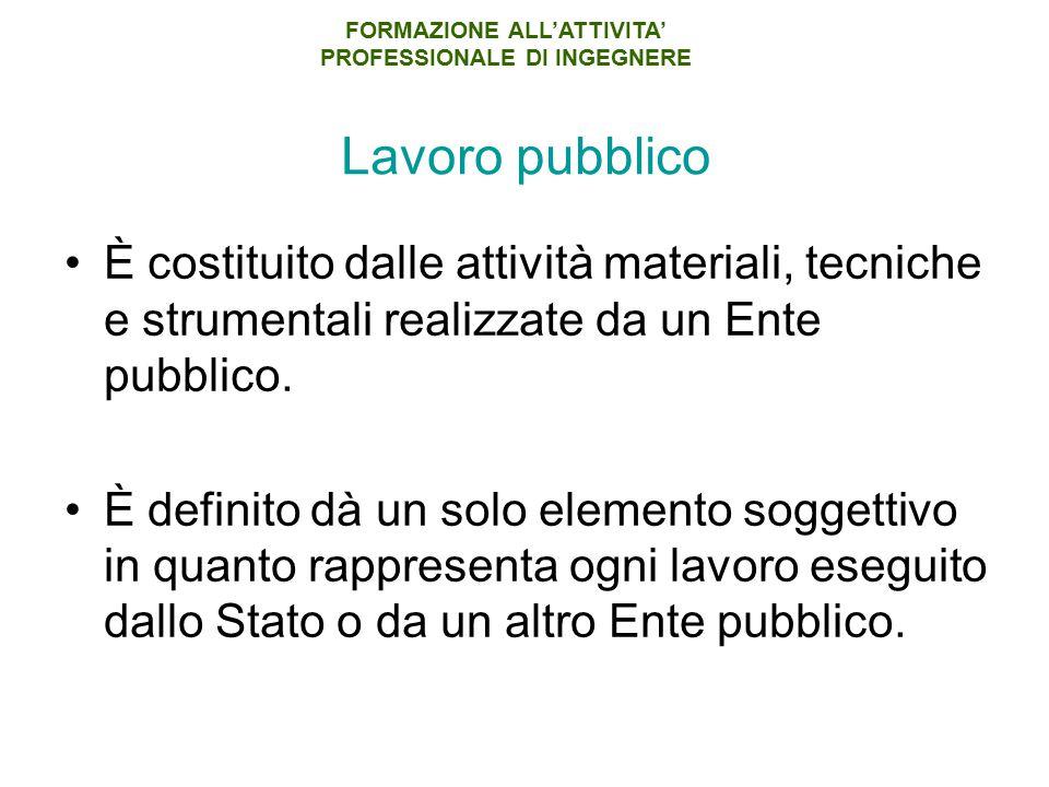 Lavoro pubblico È costituito dalle attività materiali, tecniche e strumentali realizzate da un Ente pubblico. È definito dà un solo elemento soggettiv