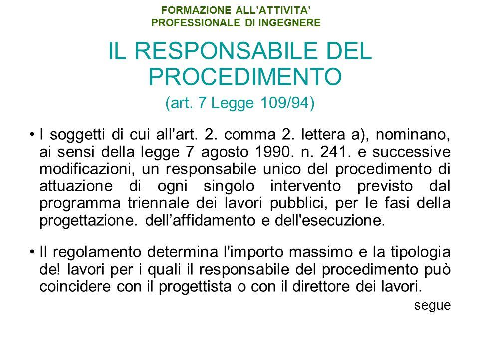 FORMAZIONE ALL'ATTIVITA' PROFESSIONALE DI INGEGNERE IL RESPONSABILE DEL PROCEDIMENTO (art. 7 Legge 109/94) I soggetti di cui all'art. 2. comma 2. lett