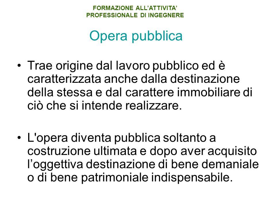 Opera pubblica Trae origine dal lavoro pubblico ed è caratterizzata anche dalla destinazione della stessa e dal carattere immobiliare di ciò che si intende realizzare.