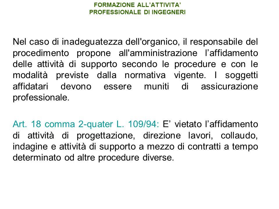 FORMAZIONE ALL'ATTIVITA' PROFESSIONALE DI INGEGNERI Nel caso di inadeguatezza dell'organico, il responsabile del procedimento propone all'amministrazi