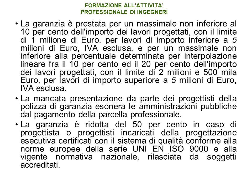 FORMAZIONE ALL'ATTIVITA' PROFESSIONALE DI INGEGNERI La garanzia è prestata per un massimale non inferiore al 10 per cento dell importo dei lavori progettati, con il limite di 1 milione di Euro.
