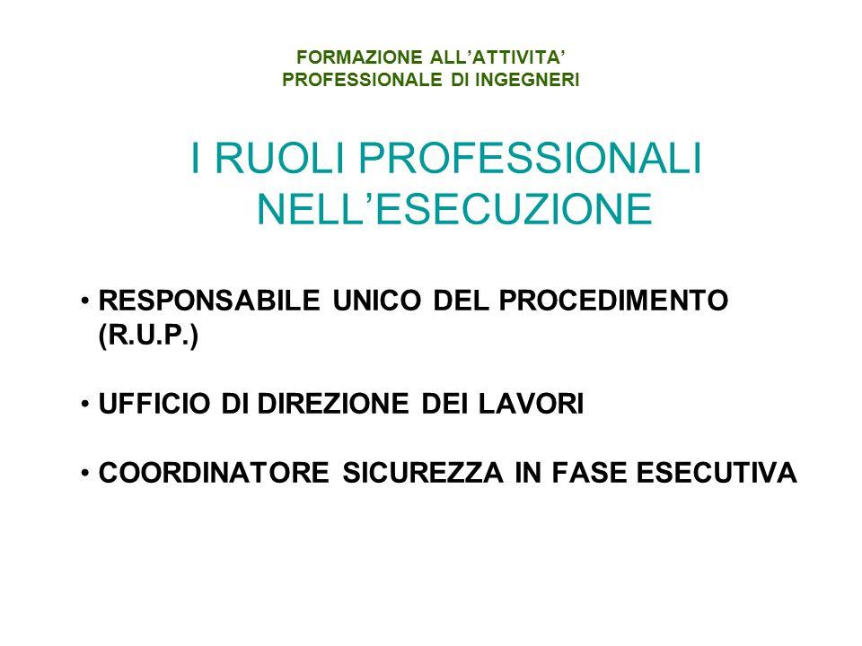 FORMAZIONE ALL'ATTIVITA' PROFESSIONALE DI INGEGNERI I RUOLI PROFESSIONALI NELL'ESECUZIONE RESPONSABILE UNICO DEL PROCEDIMENTO (R.U.P.) UFFICIO DI DIREZIONE DEI LAVORI COORDINATORE SICUREZZA IN FASE ESECUTIVA