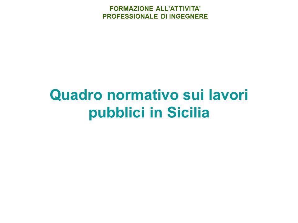 Quadro normativo sui lavori pubblici in Sicilia FORMAZIONE ALL'ATTIVITA' PROFESSIONALE DI INGEGNERE