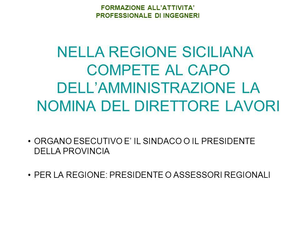 FORMAZIONE ALL'ATTIVITA' PROFESSIONALE DI INGEGNERI NELLA REGIONE SICILIANA COMPETE AL CAPO DELL'AMMINISTRAZIONE LA NOMINA DEL DIRETTORE LAVORI ORGANO