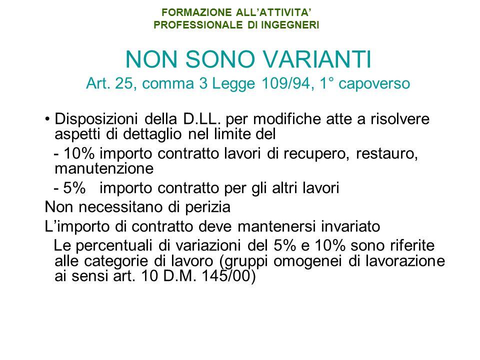 FORMAZIONE ALL'ATTIVITA' PROFESSIONALE DI INGEGNERI NON SONO VARIANTI Art. 25, comma 3 Legge 109/94, 1° capoverso Disposizioni della D.LL. per modific