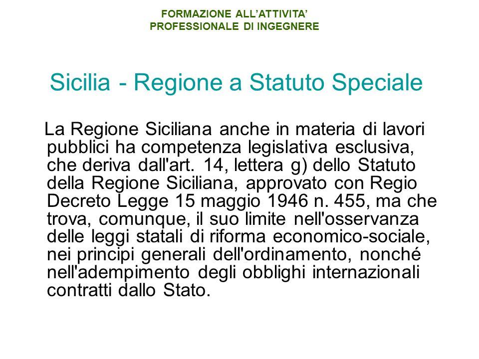 Sicilia - Regione a Statuto Speciale La Regione Siciliana anche in materia di lavori pubblici ha competenza legislativa esclusiva, che deriva dall'art