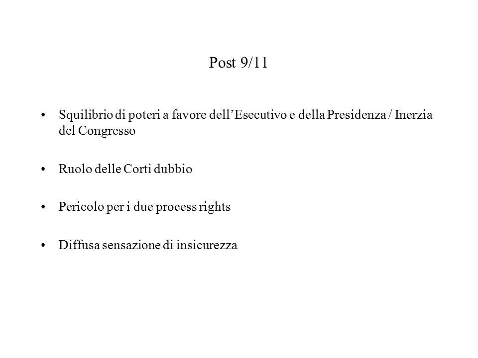 Post 9/11 Squilibrio di poteri a favore dell'Esecutivo e della Presidenza / Inerzia del Congresso Ruolo delle Corti dubbio Pericolo per i due process rights Diffusa sensazione di insicurezza