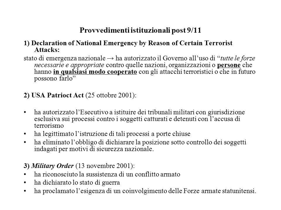 Post 9/11 Squilibrio di poteri a favore dell'Esecutivo e della Presidenza / Inerzia del Congresso Ruolo delle Corti dubbio Pericolo per i due process