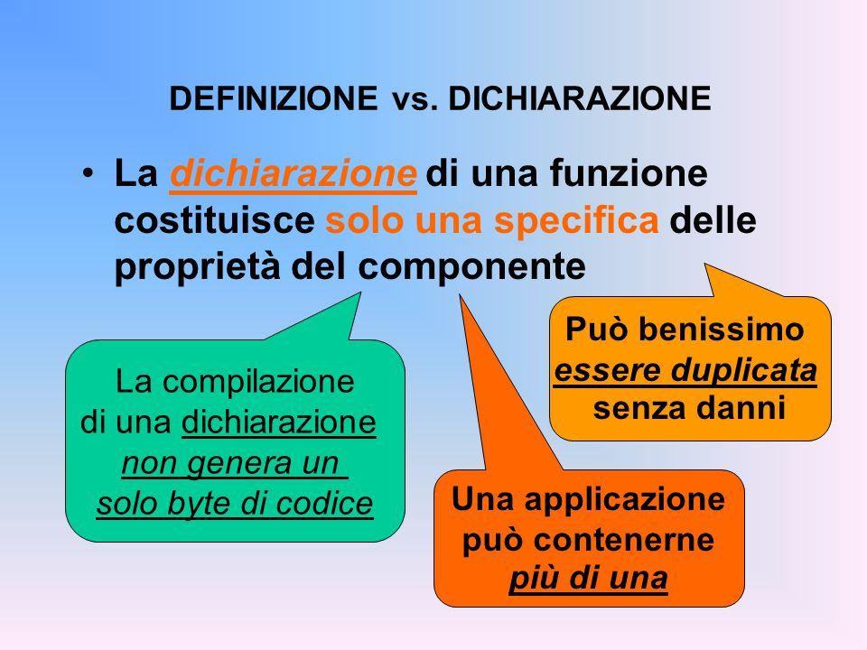 La dichiarazione di una funzione costituisce solo una specifica delle proprietà del componente DEFINIZIONE vs.