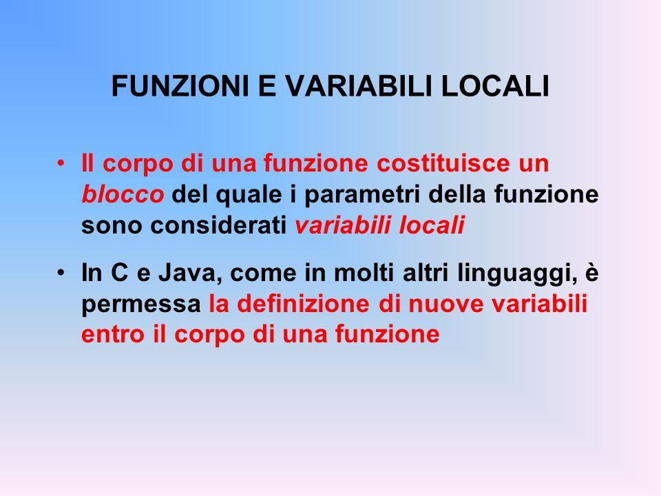 FUNZIONI E VARIABILI LOCALI Il corpo di una funzione costituisce un blocco del quale i parametri della funzione sono considerati variabili locali In C e Java, come in molti altri linguaggi, è permessa la definizione di nuove variabili entro il corpo di una funzione