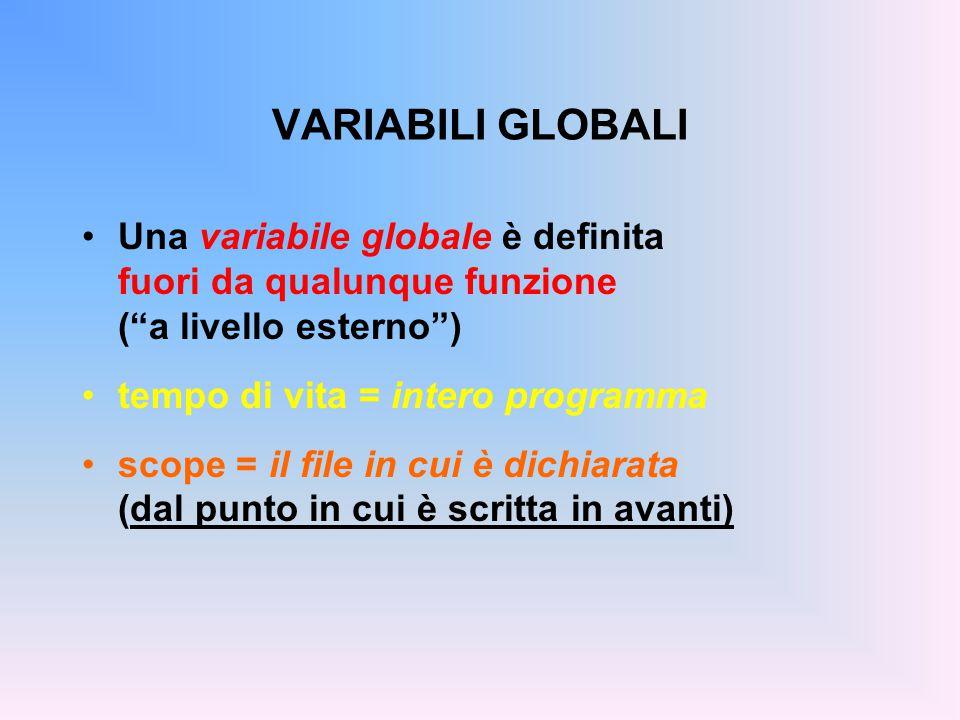 VARIABILI GLOBALI Una variabile globale è definita fuori da qualunque funzione ( a livello esterno ) tempo di vita = intero programma scope = il file in cui è dichiarata (dal punto in cui è scritta in avanti)