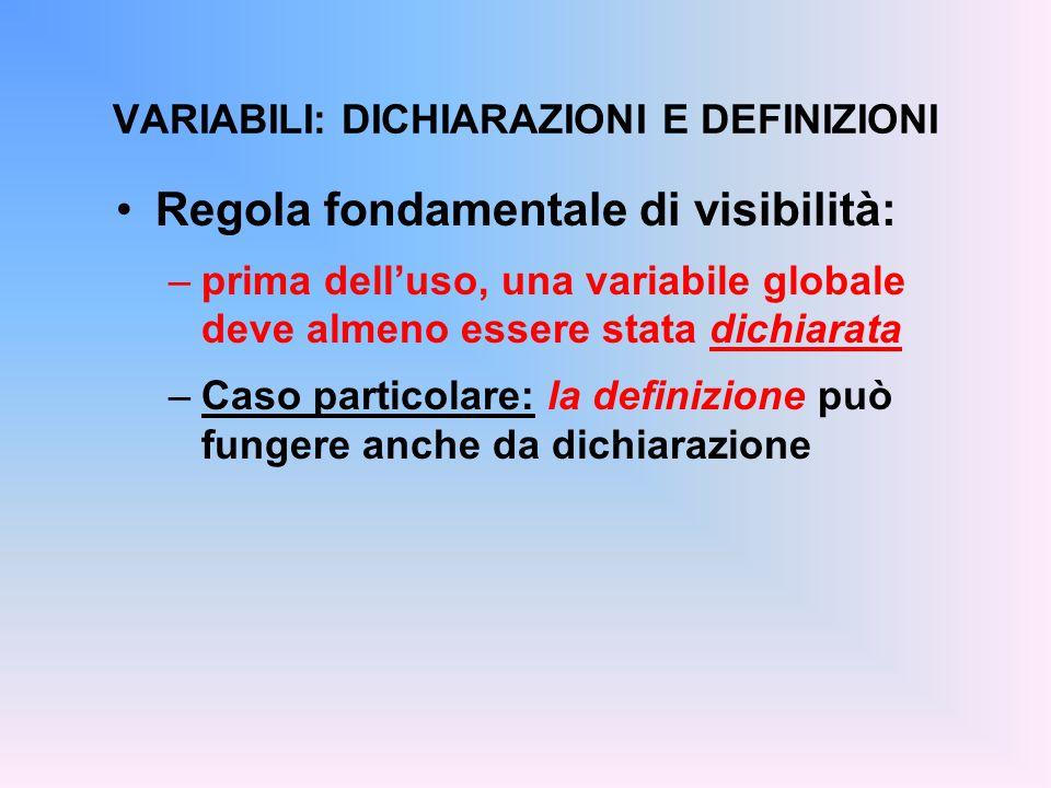 Regola fondamentale di visibilità: –prima dell'uso, una variabile globale deve almeno essere stata dichiarata –Caso particolare: la definizione può fungere anche da dichiarazione VARIABILI: DICHIARAZIONI E DEFINIZIONI