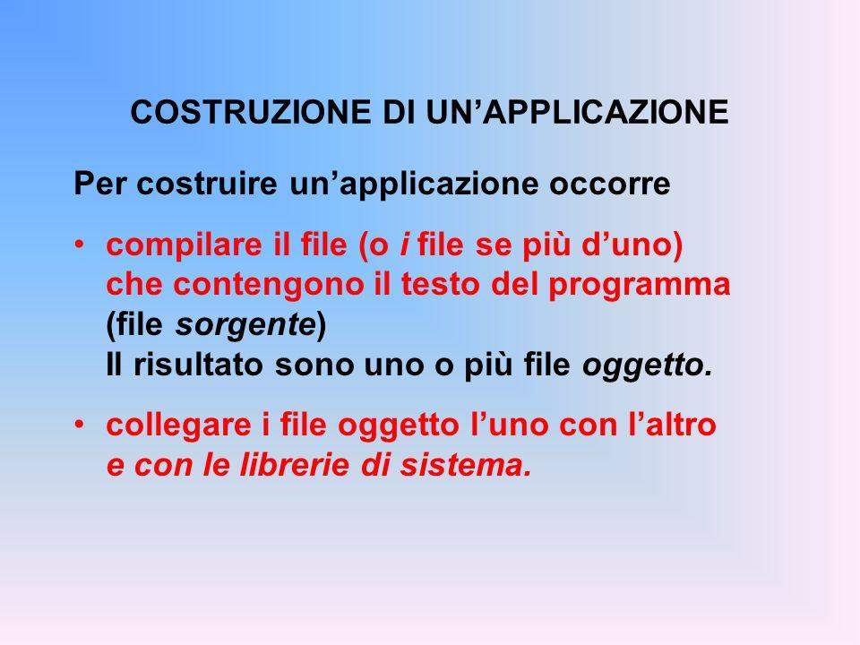 Per costruire un'applicazione occorre compilare il file (o i file se più d'uno) che contengono il testo del programma (file sorgente) Il risultato sono uno o più file oggetto.