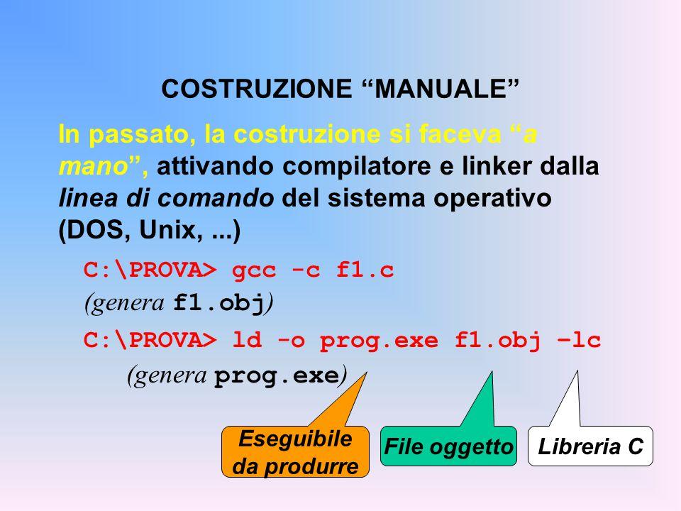 In passato, la costruzione si faceva a mano , attivando compilatore e linker dalla linea di comando del sistema operativo (DOS, Unix,...) C:\PROVA> gcc -c f1.c (genera f1.obj ) C:\PROVA> ld -o prog.exe f1.obj –lc (genera prog.exe ) COSTRUZIONE MANUALE Libreria C File oggetto Eseguibile da produrre