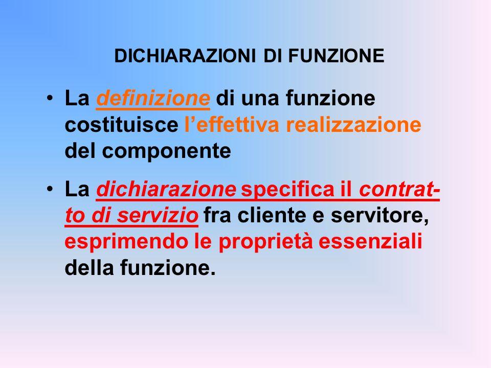 La definizione di una funzione costituisce l'effettiva realizzazione del componente La dichiarazione specifica il contrat- to di servizio fra cliente e servitore, esprimendo le proprietà essenziali della funzione.