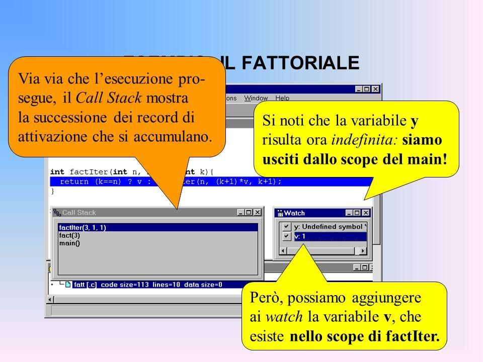 ESEMPIO: IL FATTORIALE Si noti che la variabile y risulta ora indefinita: siamo usciti dallo scope del main.