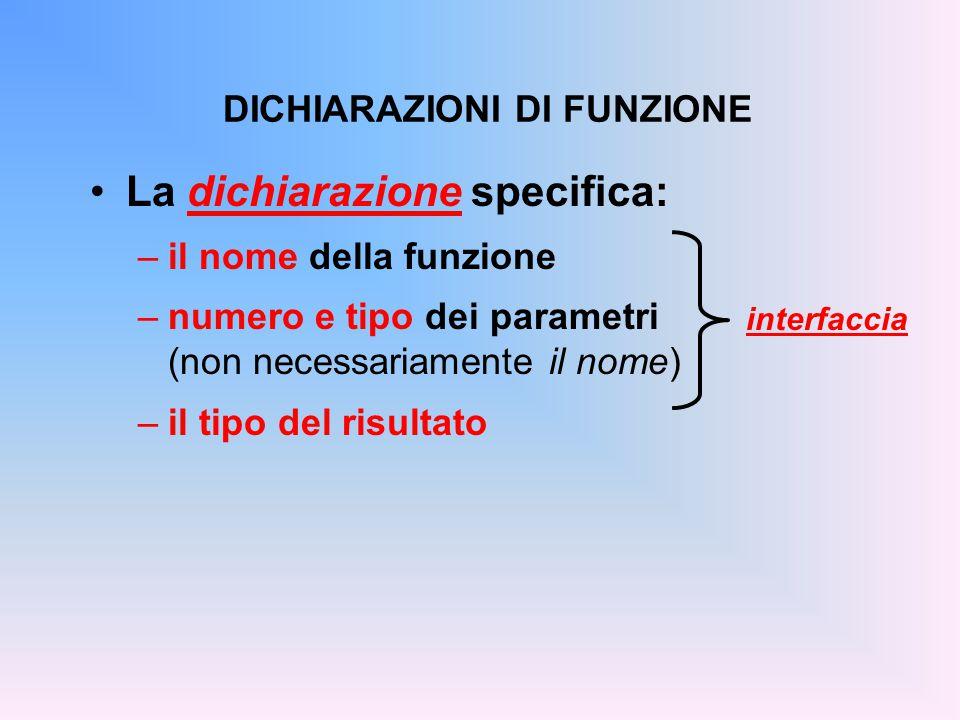 La dichiarazione specifica: –il nome della funzione –numero e tipo dei parametri (non necessariamente il nome) –il tipo del risultato DICHIARAZIONI DI FUNZIONE interfaccia