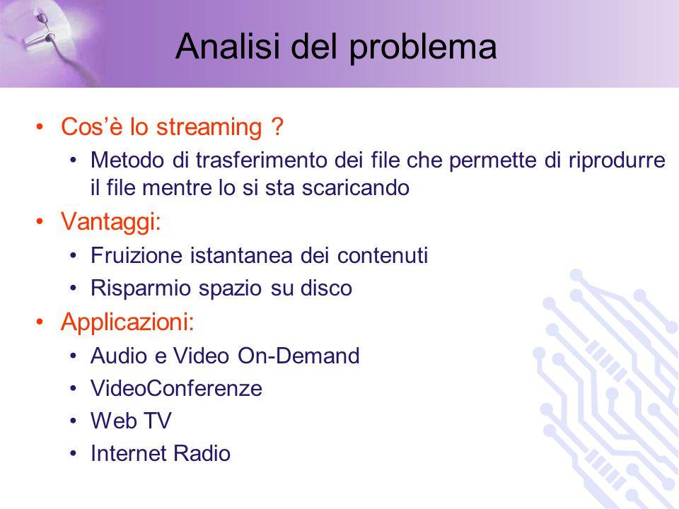 Analisi del problema Problemi dello streaming .