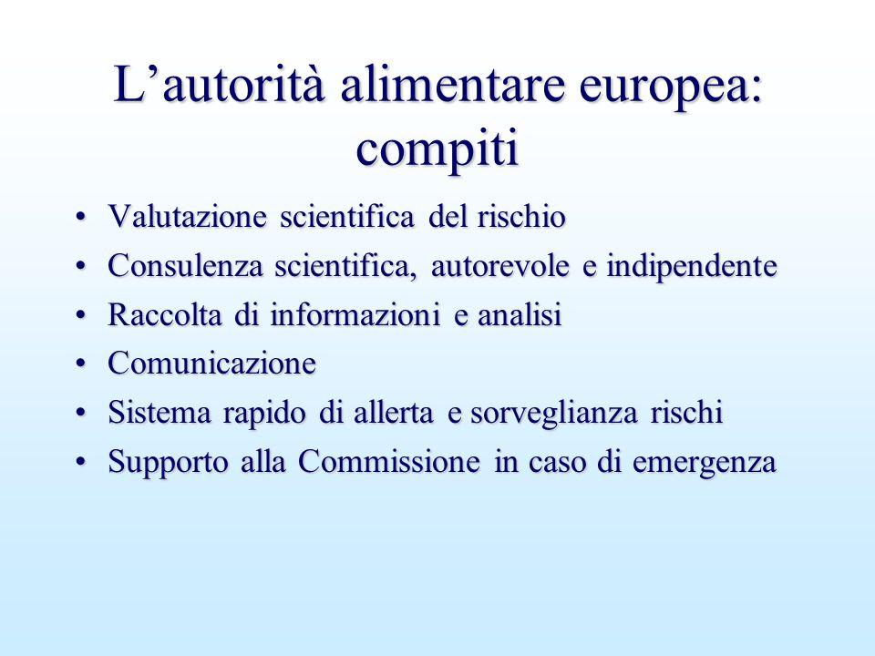 L'autorità alimentare europea: compiti Valutazione scientifica del rischioValutazione scientifica del rischio Consulenza scientifica, autorevole e ind