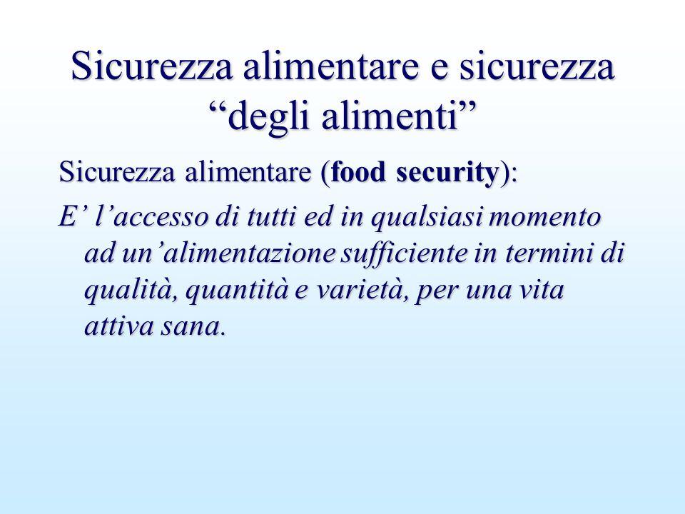 """Sicurezza alimentare e sicurezza """"degli alimenti"""" Sicurezza alimentare (food security): E' l'accesso di tutti ed in qualsiasi momento ad un'alimentazi"""