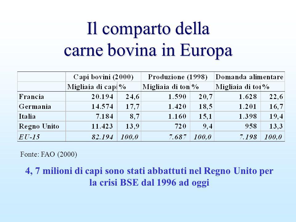 Il comparto della carne bovina in Europa Fonte: FAO (2000) 4, 7 milioni di capi sono stati abbattuti nel Regno Unito per la crisi BSE dal 1996 ad oggi