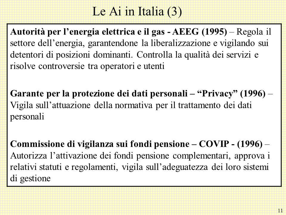 11 Le Ai in Italia (3) Autorità per l'energia elettrica e il gas - AEEG (1995) – Regola il settore dell'energia, garantendone la liberalizzazione e vigilando sui detentori di posizioni dominanti.