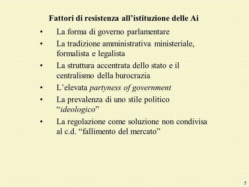 5 Fattori di resistenza all'istituzione delle Ai La forma di governo parlamentare La tradizione amministrativa ministeriale, formalista e legalista La