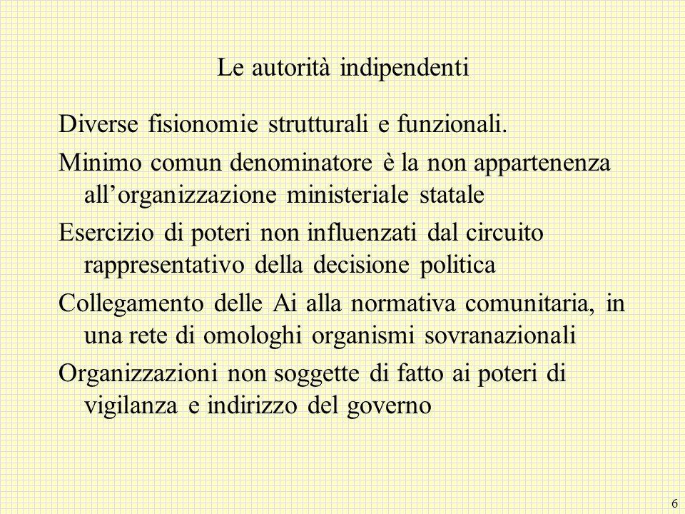 6 Le autorità indipendenti Diverse fisionomie strutturali e funzionali.