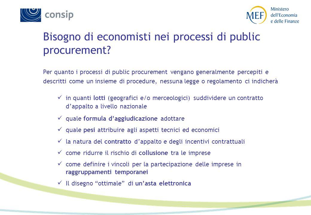 Bisogno di economisti nei processi di public procurement? Per quanto i processi di public procurement vengano generalmente percepiti e descritti come