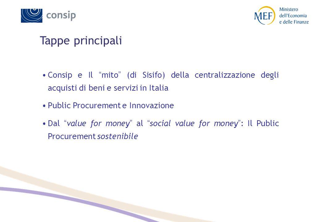 """Tappe principali Consip e Il """" mito """" (di Sisifo) della centralizzazione degli acquisti di beni e servizi in Italia Public Procurement e Innovazione D"""
