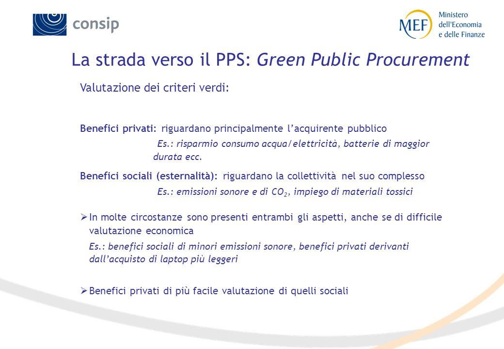 Valutazione dei criteri verdi: Benefici privati: riguardano principalmente l'acquirente pubblico Es.: risparmio consumo acqua/elettricità, batterie di
