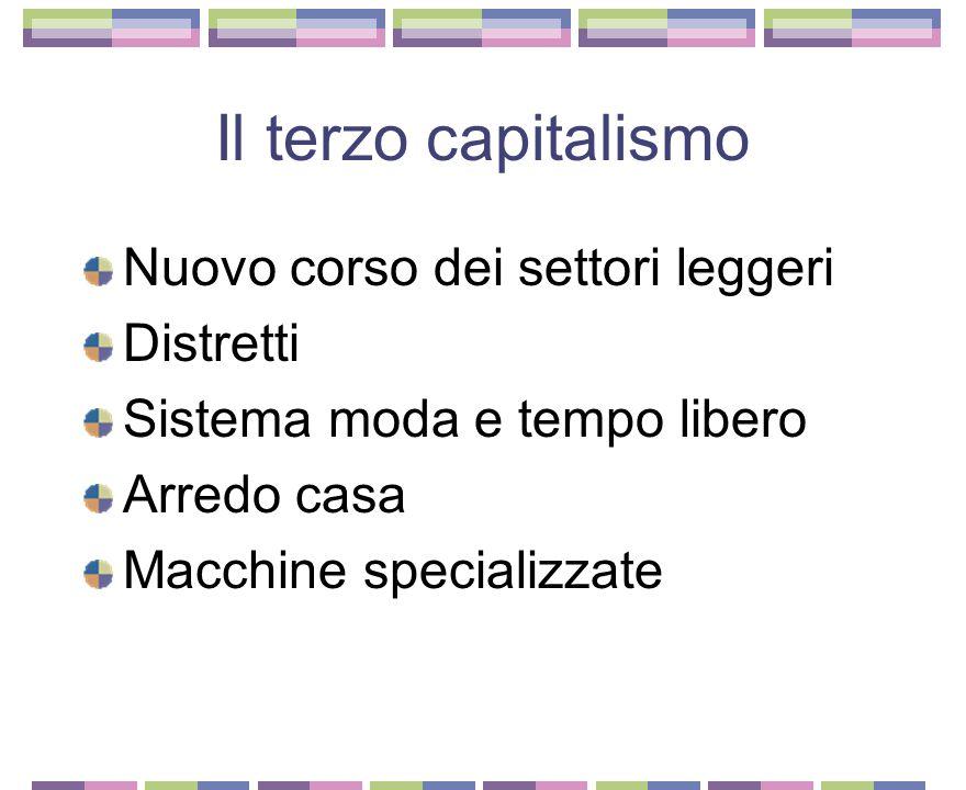 Il secondo capitalismo Il capitalismo immateriale L'ascesa repentina di Berlusconi Le nuove regole del mercato mobiliare Telecom Enel